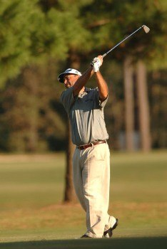 Brad Bryant hits from the 18th fairway during the final round of the Champion's TOUR Administaff Small Business Classic at Augusta Pines Country Club in Spring, Texas Photo by Steve Grayson/WireImage.com