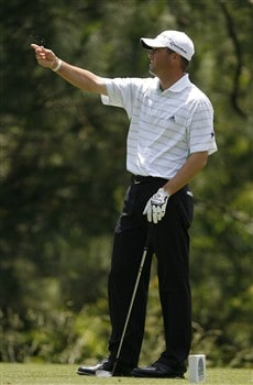 DULUTH, GA - MAY 17:  Ryan Palmer checks the wind before hitting his tee shot on the second hole during the third round of the AT&T Classic at TPC Sugarloaf May 17, 2008 in Duluth, Georgia.  (Photo by Matt Sullivan/Getty Images)