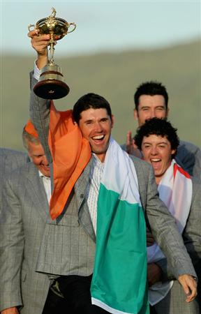 NEWPORT, WALES - OCTOBER 04:  European Team member Padraig Harrington poses with the Ryder Cup following Europe's 14.5 to 13.5 victory over the USA at the 2010 Ryder Cup at the Celtic Manor Resort on October 4, 2010 in Newport, Wales.  (Photo by Andy Lyons/Getty Images)