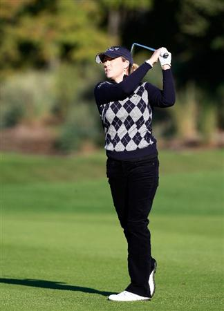 ORLANDO, FL - DECEMBER 03:  Cristie Kerr hits a shot on the 11th hole during the second round of the LPGA Tour Championship at the Grand Cypress Resort on December 3, 2010 in Orlando, Florida.  (Photo by Sam Greenwood/Getty Images)