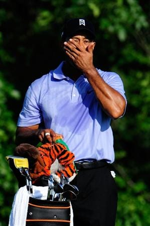 CHASKA, MN - AUGUST 13:  Tiger Woods waits on the tenth tee during the first round of the 91st PGA Championship at Hazeltine National Golf Club on August 13, 2009 in Chaska, Minnesota.  (Photo by Sam Greenwood/Getty Images)