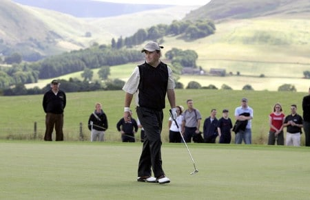 Damien McGrane on the 4th green during the 2005 Johnnie Walker Championship's Final Round on August 7, 2005 in Gleneages, Scotland.Photo by Thomas Main/WireImage.com