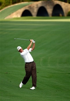 AUGUSTA, GA - APRIL 10:  Ernie Els of South Africa hits a shot on the 13th hole during the first round of the 2008 Masters Tournament at Augusta National Golf Club on April 10, 2008 in Augusta, Georgia.  (Photo by Jamie Squire/Getty Images)