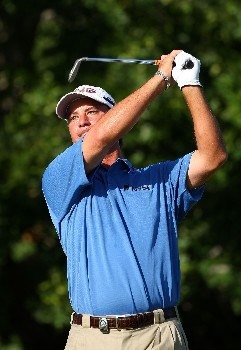 TULSA, OK - AUGUST 10:  Chris DiMarco watches his tee shot on the 11th hole during the second round of the 89th PGA Championship at the Southern Hills Country Club on August 10, 2007 in Tulsa, Oklahoma.  (Photo by Stuart Franklin/Getty Images)