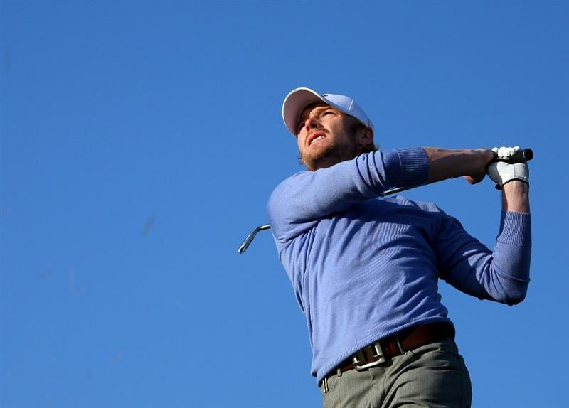 KINGSBARNS, UNITED KINGDOM - OCTOBER 02:  Pop star Ronan Keating plays his second shot to the on 10th hole during the first round of The Alfred Dunhill Links Championship at Kingsbarns Golf Links on October 2, 2008 in Kingbarns, Scotland.  (Photo by Andrew Redington/Getty Images)