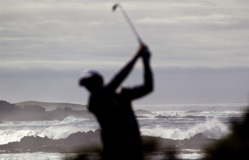PEBBLE BEACH, CA - FEBRUARY 12:  Garrett Willis tees off on the 14th hole during round two of the AT&T Pebble Beach National Pro-Am at Monterey Peninsula Country Club Shore Course on February 12, 2010 in Pebble Beach, California.  (Photo by Ezra Shaw/Getty Images)