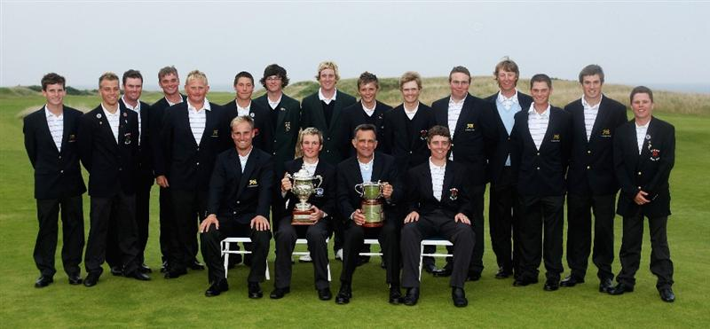 ST. ANDREWS, UNITED KINGDOM - AUGUST 30:  The Great Britain & Ireland Jacques Leglise and St Andrews Trophy teams pose with their trophies after beating the Continent of Europe at Kingsbarns Golf Club, on August 29, 2008 in Fife, Scotland.  (Photo by Warren Little/Getty Images)