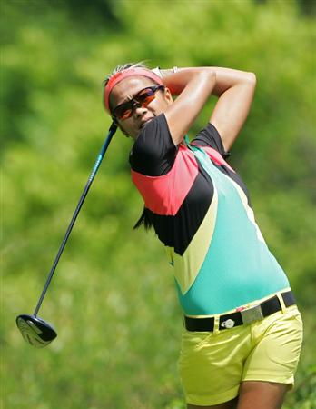PITTSFORD, NY - JUNE 27: Jennifer Rosales of the Philippines hits her drive on the second hole during the third round of the Wegmans LPGA at Locust Hill Country Club held on June 27, 2009 in Pittsford, New York. (Photo by Michael Cohen/Getty Images)