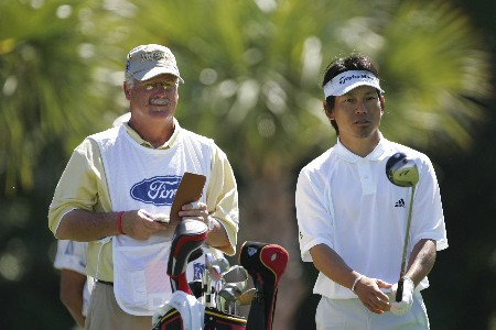 Hidemichi Tanaka hits from the 7th tee in the third round of the Ford Championship at Doral in Miami, Florida. March 5, 2005