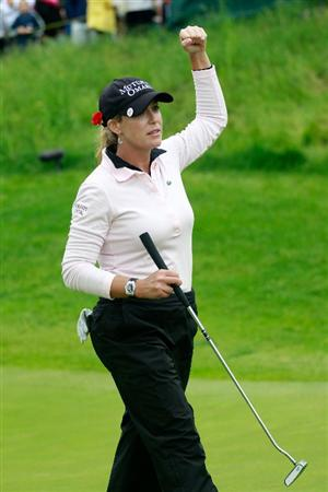 GLADSTONE, NJ - MAY 22: Cristie Kerr celebrates her victory over Angela Stanford in the semifinal of the Sybase Match Play Championship at Hamilton Farm Golf Club on May 22, 2011 in Gladstone, New Jersey.  (Photo by Chris Trotman/Getty Images)