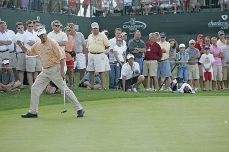 Dana Quigley watches his winning putt drop during the playoff round of the Bayer Advantage Classic held at LionsGate Golf Course in Overland Park, KS. on June 13, 2005.Photo by G. Newman Lowrance/WireImage.com