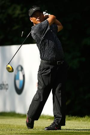 ST. LOUIS - SEPTEMBER 07: K.J. Choi hits his tee shot on the 17th hole during the final round of the BMW Championship on September 7, 2008 at Bellerive Country Club in St. Louis, Missouri.  (Photo by Mike Ehrmann/Getty Images)