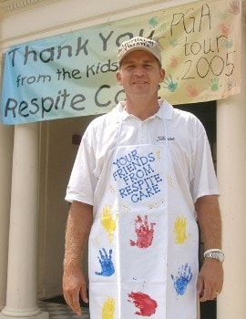 Jason Bohn poses outside the Respite Care after helping decorating cookies during the PGA TOUR's Player Charity Visit for the 2005 Valero Texas Open in San Antonio, Texas September 20, 2005 .Photo by Steve Grayson/WireImage.com