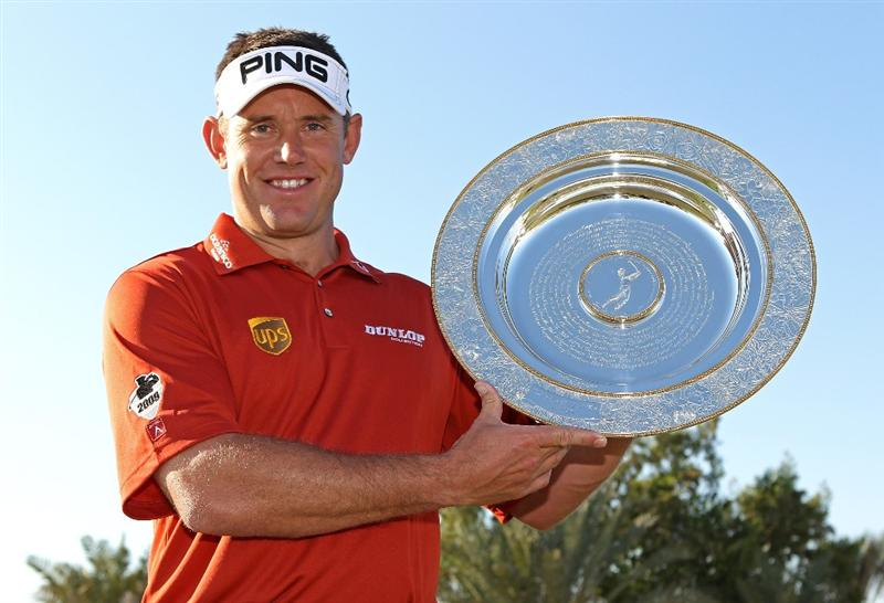 ABU DHABI, UNITED ARAB EMIRATES - JANUARY 19:  Lee Westwood of England poses with his European Tour Players? Player of the Year Award at The Abu Dhabi Golf Championship at Abu Dhabi Golf Club on January 19, 2010 in Abu Dhabi, United Arab Emirates.  (Photo by Andrew Redington/Getty Images)
