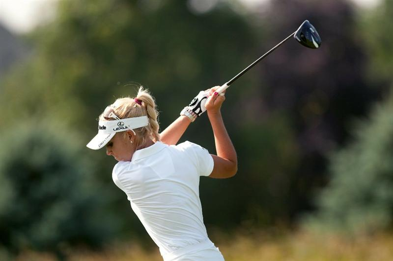 SPRINGFIELD, IL - JUNE 11: Natalie Gulbis hits a tee shot during the second round of the LPGA State Farm Classic at Panther Creek Country Club on June 11, 2010 in Springfield, Illinois. (Photo by Darren Carroll/Getty Images)