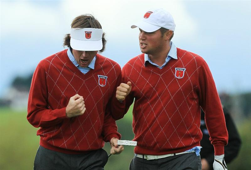NEWPORT, WALES - OCTOBER 03:  Jeff Overton (R) of the USA celebrates with team mate Bubba Watson after holing out for an eagle on the 8th hole during the  Fourball & Foursome Matches during the 2010 Ryder Cup at the Celtic Manor Resort on October 3, 2010 in Newport, Wales.  (Photo by David Cannon/Getty Images)