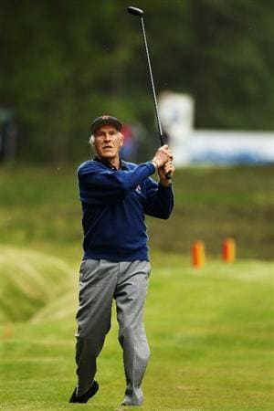 VIRGINIA WATER, ENGLAND - MAY 19:  Entertainer Bruce Forsyth plays a shot during the Pro-Am round prior to the BMW PGA Championship on the West Course at Wentworth on May 19, 2010 in Virginia Water, England.  (Photo by Ian Walton/Getty Images)