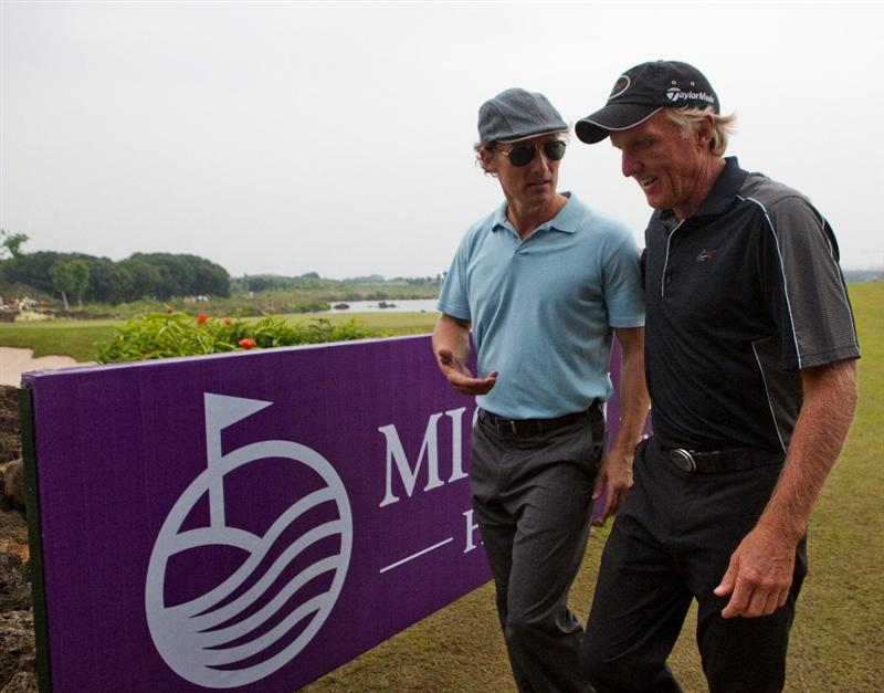 HAIKOU, CHINA - OCTOBER 31:  Golfer Greg Norman of Australia and Actor Mathew McConaughey talk during day five of the Mission Hills Start Trophy tournament at Mission Hills Resort on October 31, 2010 in Haikou, China. The Mission Hills Star Trophy is Asia's leading leisure liflestyle event which features Hollywood celebrities and international golf stars.  (Photo by Athit Perawongmetha/Getty Images for Mission Hills)