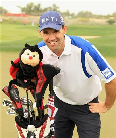 ABU DHABI, UNITED ARAB EMIRATES - JANUARY 19:  Padraig Harrington of Ireland poses with a ladybird headcover given to him by his son Paddy during the Pro Am prior to the start of The Abu Dhabi HSBC Golf Championship at Abu Dhabi Golf Club on on January 19, 2011 in Abu Dhabi, United Arab Emirates.  (Photo by Andrew Redington/Getty Images)