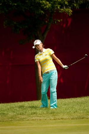 SPRINGFIELD, IL - JUNE 11: Na Yeon Choi of South Korea follows through on a chip shot during the second round of the LPGA State Farm Classic at Panther Creek Country Club on June 11, 2010 in Springfield, Illinois. (Photo by Darren Carroll/Getty Images)
