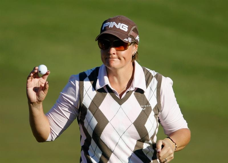 ORLANDO, FL - DECEMBER 05:  Maria Hjorth of Sweden waves to the gallery on the 16th green during the final round of the LPGA Tour Championship at the Grand Cypress Resort on December 5, 2010 in Orlando, Florida.  (Photo by Scott Halleran/Getty Images)