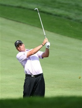 BLOOMFIELD HILLS, MI - AUGUST 09:  Pat Perez plays his third shot on the second hole during round three of the 90th PGA Championship at Oakland Hills Country Club on August 9, 2008 in Bloomfield Township, Michigan.  (Photo by David Cannon/Getty Images)