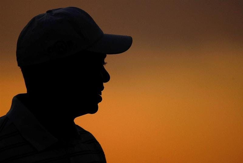 CHASKA, MN - AUGUST 10:  Tiger Woods waits on the practice ground during a practice round prior to the start of the 91st PGA Championship at the Hazeltine Golf Club on August 10, 2009 in Chaska, Minnesota.  (Photo by Scott Halleran/Getty Images)