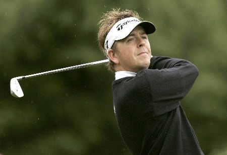 Scott Drummond watches his tee shot during the second round of the 2005 Celtic Manor Wales Open at Celtic Manor's Roman Road course. June 3, 2005Photo by Pete Fontaine/WireImage.com