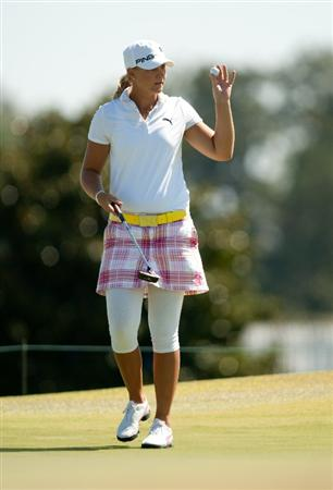 PRATTVILLE, AL - OCTOBER 7: Anna Nordqvist of Sweden raises her ball to acknowledge the gallery during the first round of the Navistar LPGA Classic at the Senator Course at the Robert Trent Jones Golf Trail at Capitol Hill on October 7, 2010 in Prattville, Alabama. (Photo by Darren Carroll/Getty Images)