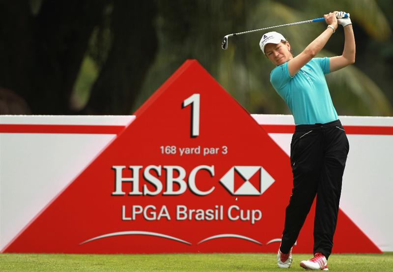 RIO DE JANEIRO, BRAZIL - MAY 29:  Catriona Matthew of Scotland hits her tee shot on the first hole during the final round of the HSBC LPGA Brazil Cup at the Itanhanga Golf Club on May 29, 2011 in Rio de Janeiro, Brazil.  (Photo by Scott Halleran/Getty Images)