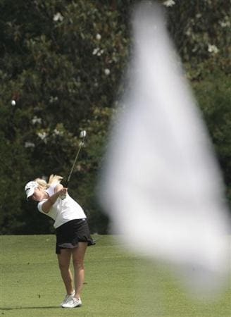 MOBILE, AL - MAY 14:  Brittany Lincicome hits her approach shot to the ninth hole during second round play in the Bell Micro LPGA Classic at the Magnolia Grove Golf Course on May 14, 2010 in Mobile, Alabama.  (Photo by Dave Martin/Getty Images)
