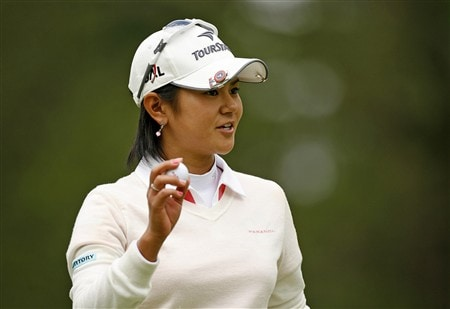 ROCHESTER, NY - JUNE 19: Ai Miyazato of Japan acknowledges the gallery on the 9th hole during the first round of the Wegmans LPGA at Locust Hill Country Club on June 19, 2008 in Rochester, New York. (Photo by Hunter Martin/Getty Images)