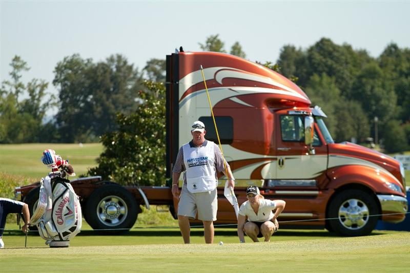 PRATTVILLE, AL - OCTOBER 7: Morgan Pressel and caddie Barry Cesarzduring the first round of the Navistar LPGA Classic at the Senator Course at the Robert Trent Jones Golf Trail at Capitol Hill on October 7, 2010 in Prattville, Alabama. (Photo by Darren Carroll/Getty Images)