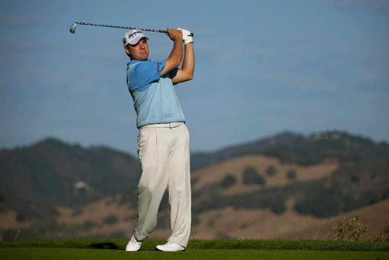 SAN MARTIN, CA - OCTOBER 14:  Roland Thatcher makes a tee shot on the seventh hole during the first round of the Frys.com Open at the CordeValle Golf Club on October 14, 2010 in San Martin, California.  (Photo by Robert Laberge/Getty Images)