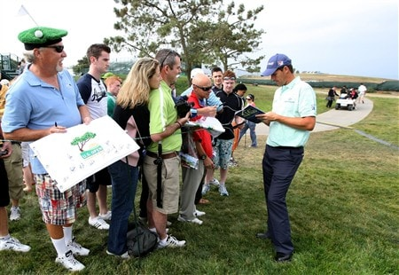 SAN DIEGO - JUNE 11:  Padraig Harrington of Ireland signs autographs after his practice round during the third day of previews to the 108th U.S. Open at the Torrey Pines Golf Course (South Course) on June 11, 2008 in San Diego, California.  (Photo by Harry How/Getty Images)