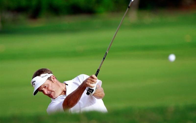 HONOLULU, HI - JANUARY 16:  Stuart Appleby of Australia plays a shot on the 13th hole during the third round of the Sony Open at Waialae Country Club on January 16, 2011 in Honolulu, Hawaii.  (Photo by Sam Greenwood/Getty Images)