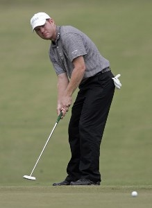 Troy Matteson putts on the 7th hole during the third round of the Southern Farm Bureau Classic at Annandale Golf Club in Madison, Mississippi, on September 30, 2006. Photo by Hunter Martin/WireImage.com