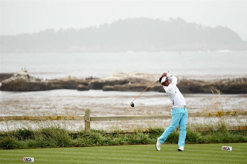 PEBBLE BEACH, CA - JUNE 15:  Thongchai Jaidee of Thailand hits a tee shot during a practice round prior to the start of the 110th U.S. Open at Pebble Beach Golf Links on June 15, 2010 in Pebble Beach, California.  (Photo by Andrew Redington/Getty Images)