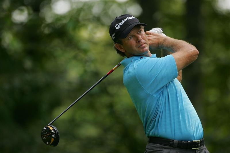 NORTON, MA - SEPTEMBER 07:  Retief Goosen hits his drive on the ninth hole during the final round of the Deutsche Bank Championship at TPC Boston held on September 7, 2009 in Norton, Massachusetts.  (Photo by Michael Cohen/Getty Images)
