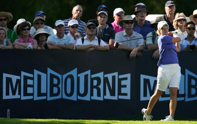 MELBOURNE, AUSTRALIA - MARCH 13:  Karrie Webb of Australia tees off on the 4th hole during day three of the Women's Australian Open at on March 13, 2010 in Melbourne, Australia.  (Photo by Scott Barbour/Getty Images)