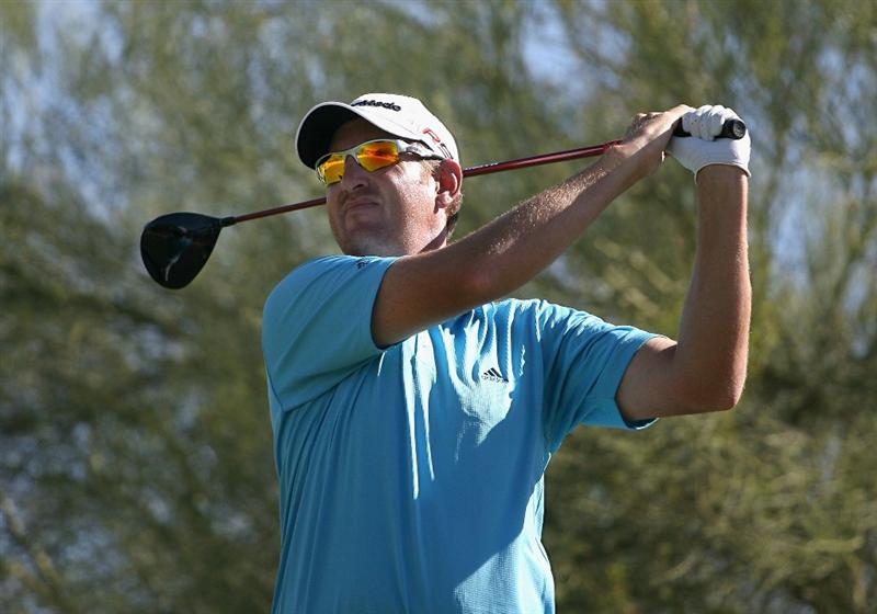 SCOTTSDALE, AZ - OCTOBER 24:  Greg Owen of England hits a tee shot on the third hole during the third round of the Frys.com Open at Grayhawk Golf Club on October 24, 2009 in Scottsdale, Arizona.  (Photo by Christian Petersen/Getty Images)