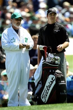 AUGUSTA, GA - APRIL 13:  Arron Oberholser waits with his caddie Dave Woosley on the third hole during the final round of the 2008 Masters Tournament at Augusta National Golf Club on April 13, 2008 in Augusta, Georgia.  (Photo by David Cannon/Getty Images)