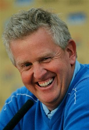 NEWPORT, WALES - SEPTEMBER 29:  European Team Captain Colin Montgomerie speaks with the media during a practice round prior to the 2010 Ryder Cup at the Celtic Manor Resort on September 29, 2010 in Newport, Wales.  (Photo by Sam Greenwood/Getty Images)