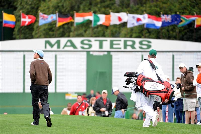 AUGUSTA, GA - APRIL 06:  Amateur Reinier Saxton of Holland walks with his caddie down a fairway during a practice round prior to the 2009 Masters Tournament at Augusta National Golf Club on April 6, 2009 in Augusta, Georgia.  (Photo by Harry How/Getty Images)