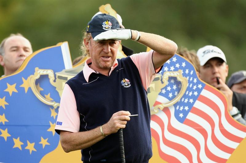 NEWPORT, WALES - SEPTEMBER 30:  Miguel Angel Jimenez of Europe watches a shot during a practice round prior to the 2010 Ryder Cup at the Celtic Manor Resort on September 30, 2010 in Newport, Wales.  (Photo by Ross Kinnaird/Getty Images)
