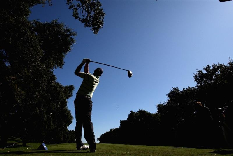 SOTOGRANDE, SPAIN - OCTOBER 29: Padraig Harrington of Ireland hits on the par five 11th hole during the pro-am event prior to the Volvo Masters at the Valderrama Golf Club on October 29, 2008 in Sotogrande, Spain  (Photo by Ross Kinnaird/Getty Images)