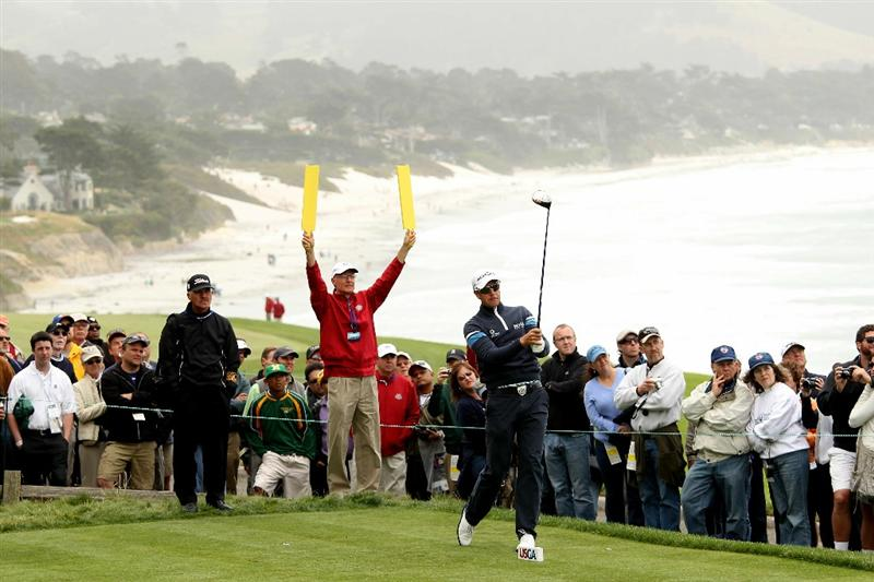 PEBBLE BEACH, CA - JUNE 15:  Henrik Stenson of Sweden hits a shot during a practice round prior to the start of the 110th U.S. Open at Pebble Beach Golf Links on June 15, 2010 in Pebble Beach, California.  (Photo by Ross Kinnaird/Getty Images)