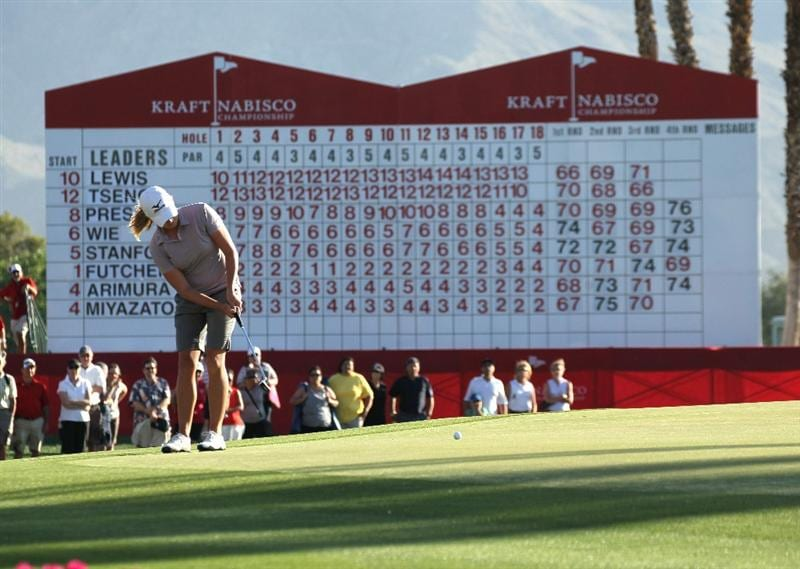 RANCHO MIRAGE, CA - APRIL 03:  Stacy Lewis putts on the 18th hole during the final round of the Kraft Nabisco Championship at Mission Hills Country Club on April 3, 2011 in Rancho Mirage, California.  (Photo by Stephen Dunn/Getty Images)