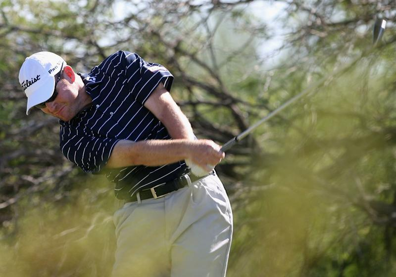SCOTTSDALE, AZ - OCTOBER 25:  Troy Matteson hits a tee shot on the second hole during the fourth round of the Frys.com Open at Grayhawk Golf Club on October 25, 2009 in Scottsdale, Arizona.  (Photo by Christian Petersen/Getty Images)