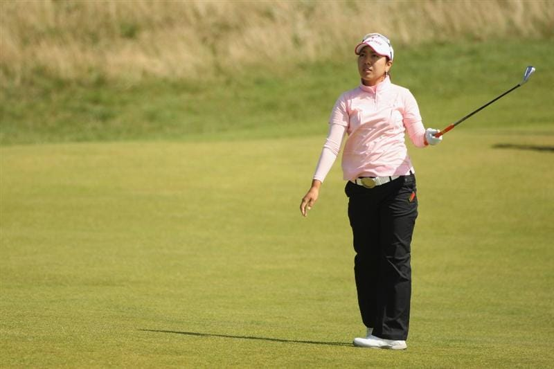 LYTHAM ST ANNES, ENGLAND - AUGUST 02:  Mika Miyazato of Japan reacts to a shot during the final round of the 2009 Ricoh Women's British Open Championship held at Royal Lytham St Annes Golf Club, on August 2, 2009 in Lytham St Annes, England.  (Photo by Warren Little/Getty Images)